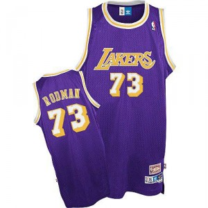 Jersey violet NBA Dennis Rodman Throwback authentique masculin - Mitchell et Ness Los Angeles Lakers & 73