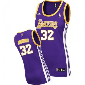 Jersey violet des femmes authentiques NBA Magic Johnson - Adidas Los Angeles Lakers & route 32