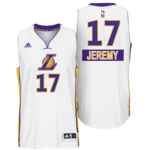 Los Angeles Lakers 17 Jeremy Lin 2014 le jour de Noël grand Logo Swingman maillot blanc