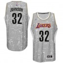 Maillot gris des hommes authentiques NBA Magic Johnson - Adidas Los Angeles Lakers 32 ville lumière