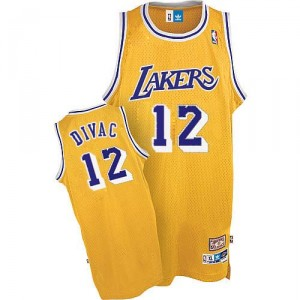 Maillot or Vlade Divac NBA authentique Throwback masculine - Adidas Los Angeles Lakers & 12
