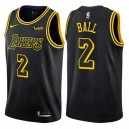 Hommes 2017-18 saison Lonzo ball Los Angeles Lakers &2 City Édition Noir Swing maillots