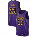 Mâle LeBron James 2018-19 des Los Angeles Lakers ^ 23 City Purple Jersey
