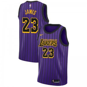 Mâle LeBron James 2018-19 des Los Angeles Lakers ^ 23 City Purple Jersey