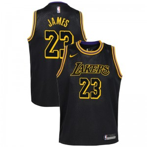 new concept 17b43 f1c4e Jeunes Lakers de Los Angeles LeBron James # 23 City Noir ...