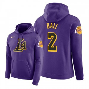 NBA Men Los Angeles Lakers ^ 2 Sweat à Capuche Pull Lonzo Ball City Edition - Violet