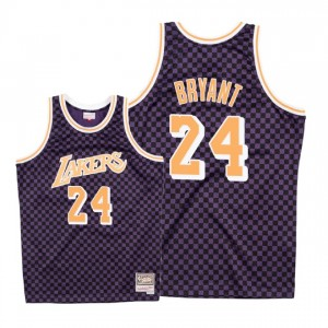 Maillot damier Mitchell & Ness Lakers de Los Angeles ^ 24 Kobe Bryant - Violet