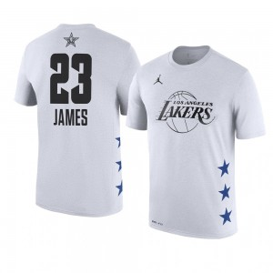 Lakers de Los Angeles ^ 23 LeBron James Nom et numéro du match des étoiles NBA 2019 T-shirt blanc