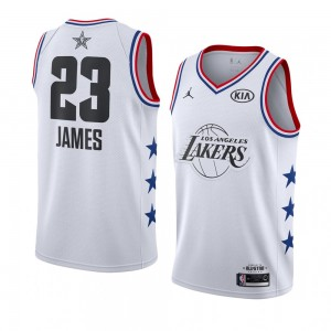 Lakers de Los Angeles ^ 23 White LeBron James Maillot Swingman All-Star 2019 pour Homme