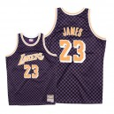 Maillot Mitchell # Ness Lakers de Los Angeles # 23 LeBron James en damier - Violet