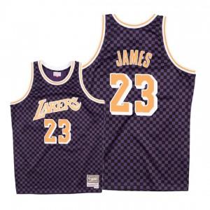 Maillot Mitchell & Ness Lakers de Los Angeles ^ 23 LeBron James en damier - Violet
