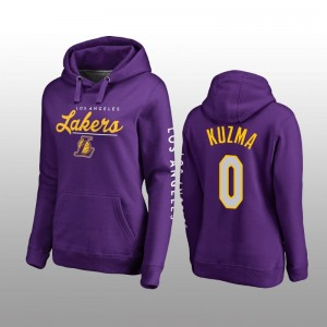 Los Angeles Lakers & 0 Kyle Kuzma Fanatics Sudadera con capucha de clase alta para mujer - Púrpura